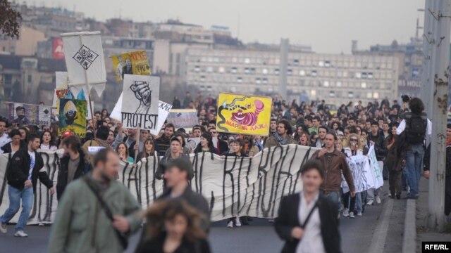 Jedan od protesta studenata Beogradskog univerziteta, foto: Vesna Anđić