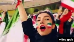 A video grab of an Iranian football fan who recorded the story of her very first presence in Azadi stadium. October 10, 2019