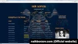 Скріншот сайту співака Найка Борзова з анонсами концертів на окупованій території України