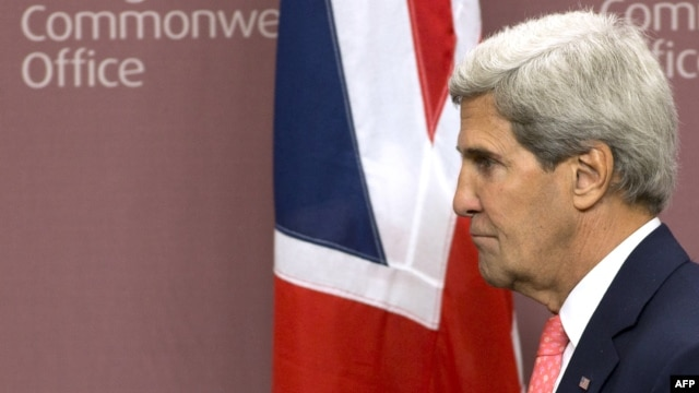U.S. Secretary of State John Kerry leaves after addressing a press conference at the Foreign Office in London on September 9. Britain was likely one ally Washington had counted on for military support.