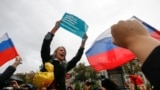 "RUSSIA--Supporters of Russian opposition leader Alexei Navalny attend a rally in Moscow, Russia October 7, 2017. Sign on a poster reads ""Freedom of elections, freedom to Navalny"""