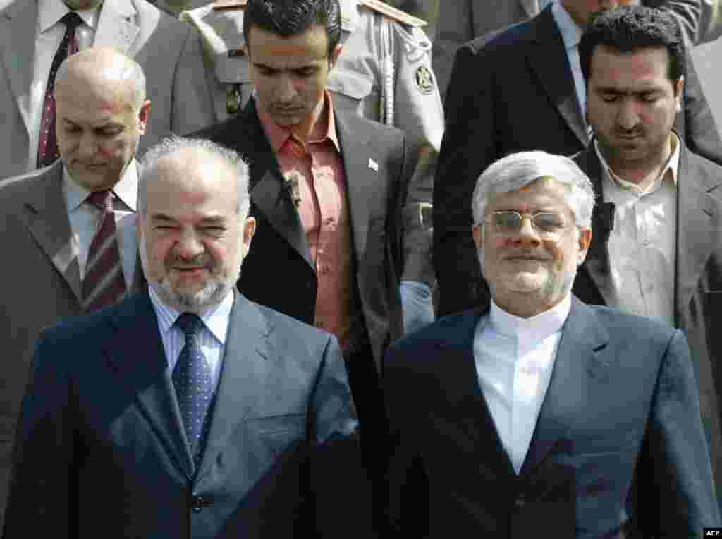 """THE REFORMIST: Mohammad Reza Aref, a university professor and vice president to former President Mohammad Khatami, is being tipped as a possible candidate for the reformist camp, which has essentially been eliminated from the political scene. Analysts believe the reformists have zero chance of regaining the presidency. Nevertheless, Aref (shown here on the right with Iraqi Prime Minister Ibrahim al-Jaafari in 2005) has been quoted as saying, """"I may announce my candidacy formally if I don't see any notable nominee."""""""