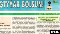 """2010-njy ýylyň ýanwar aýynda çap edilen Türkmenistan gazetindäki """"Adam döwlet üçindir"""" diýen rubrikadan bir nusga. Ulaldyp görmek üçin suratyň üstüne basyň."""