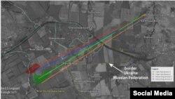 Слайд из доклада Bellingcat, показывающий местоположение точки обстрела в Гуково