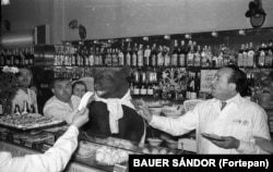A bear behind the bar of a famous delicatessen in 1960. The bear was reportedly borrowed from a zoo to promote the anniversary of the deli and tasted everything on the menu.
