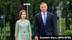 Președinții Maia Sandu și Andrzej Duda, la Chișinău, 26 august 2021