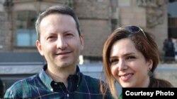 احمدرضا جلالی پژوهشگر و پزشک ایرانی سوئدی زندانی در ایران در کنار همسرش