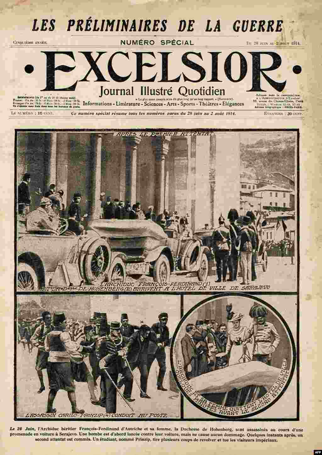 "The front page of the newspaper ""Excelsior,"" announcing the assassination."