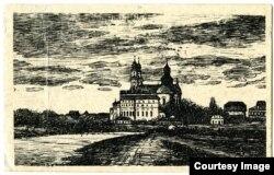 Пінск. Від на горад з боку балот. 1915. Архіў В. Багданава