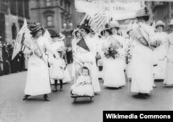 ABŞ - New York-da feminist parad - qadınların səsvermə hüququ uğrunda, 1912