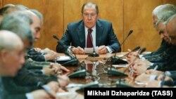 Сергій Лавров на зустрічі з представниками палестинських організацій. Москва, 16 січня 2017 року
