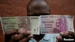 Банкноты в 200 и 500 миллионов зимбабвийских долларов