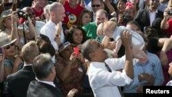 Барак Обама в Лас-Вегасе в ходе предвыборной кампании. 1 ноября 2012 г
