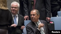 "Russian Foreign Minister Sergei Lavrov (right) described UN Ambassador Vitaly Churkin as ""a part of my life."""