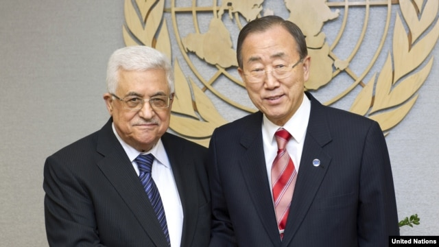 UN Secretary-General Ban Ki-moon (right) met on November 28 with Palestinian leader Mahmud Abbas at UN headquarters in New York.