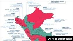 Перудагы чыр-чатактардын картасы: кызыл - 10дон көп, сары - 6-10, жашыл - 5ке чейин. (www.revenuewatch.org)
