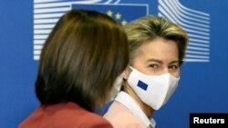 Președinta Maia Sandu și președinta Comisiei Europene, Ursula von de Leyen, Bruxelles, 18 ianuarie 2021.