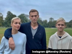 Navalny, his wife, Yulia, and son Zahar in Berlin in an image obtained from social media in October 2020