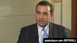 Armenia - Georgian Defense Minister Irakli Alasania is interviewed by RFE/RL's Armenian service, Yerevan, 8Mar2013.