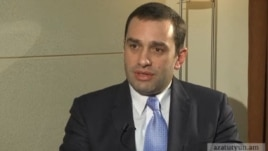Armenia - Georgian Defense Minister Irakli Alasania is interviewed by RFE/RL's Armenian service, Yerevan, 8Mar2013.