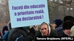 La protestul Sindicatului Educației la Chișinău