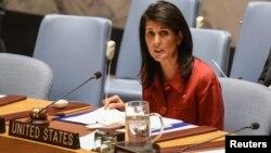 سخنان خانم هیلی در حضور فدریکا موگرینی، مسئول ارشد سیاست خارجی و امور دفاعی اتحادیه اروپا بیان شد.
