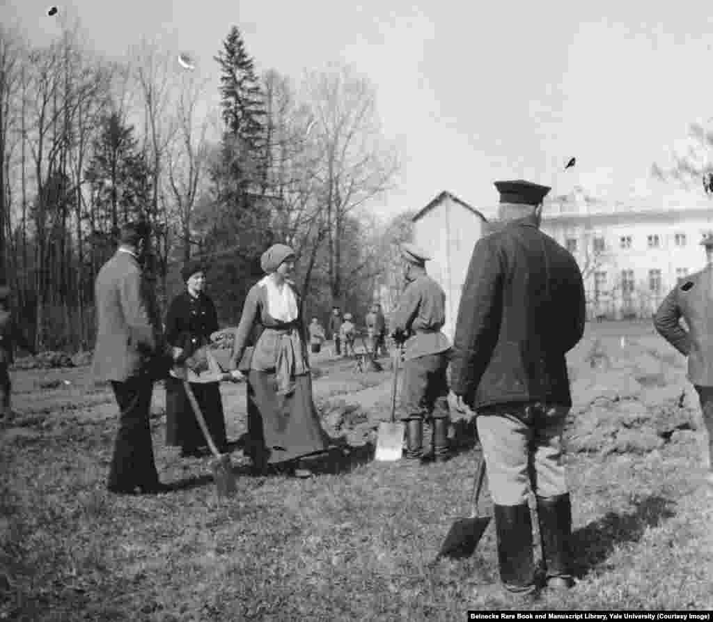 In the months after the 1917 Revolution, Grand Duchess Tatiana helping to dig a vegetable garden while being held in captivity by revolutionaries.