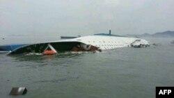 Նավաբեկության ենթարկված կորեական լաստանավը, 16-ը ապրիլի, 2014թ․