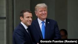 Прэзыдэнты Францыі і ЗША Эманюэль Макрон і Дональд Трамп