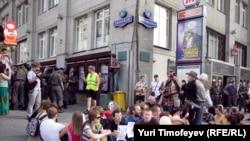 Акция в защиту свободы собраний на Триумфальной площади в Москве