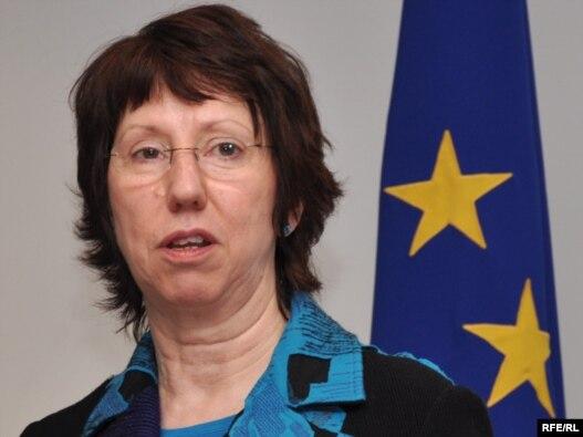 Catherine Ashton za vrijeme posjete Sarajevu 18. februara 2010. godine