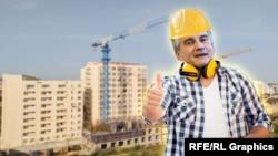 Сергей Аксенов на фоне новостроек в Крыму. Коллаж