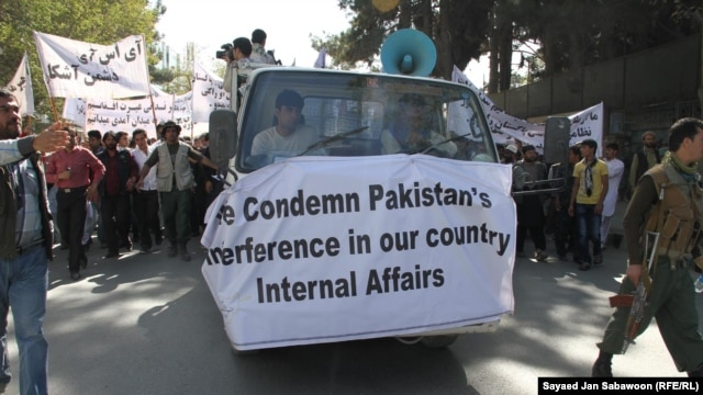 Afghan demonstrators shout anti-Pakistan slogans during a protest in Kabul on October 2.