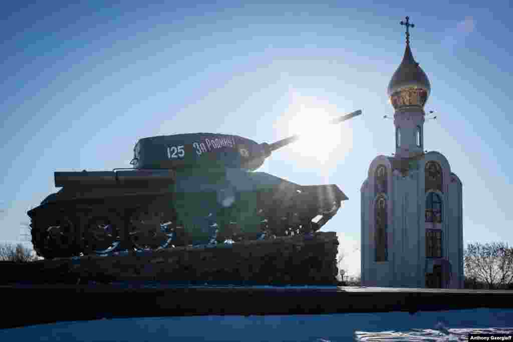 A T-34 Soviet tank from World War II stands in downtown Tiraspol. During that war, the region came under Romanian and Axis occupation, and was the site of concentration camps where hundreds of thousands were killed.