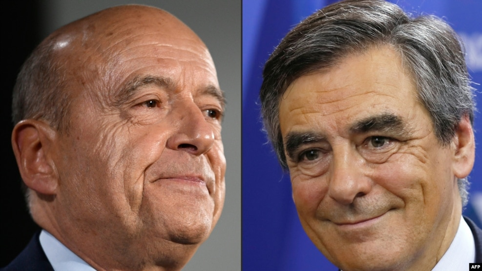 French conservative presidential hopefuls Alain Juppe (left) and Francois Fillon sparred over Russia in their final debate on November 24 before a key second-round primary.
