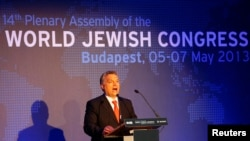 Premierul Viktor Orban vorbind la cea de-a 14-a Adunare plenară a Congresului Mondial Evreiesc, la Budapesta.
