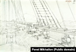 The deck of one of the Russian ships, lined with carronades – a kind of short-range, lightweight cannon.