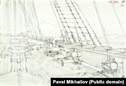 Палуба одного из российских кораблей с установленными на ней пушками.