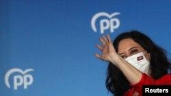 Câștigătoarea alegerilor din regiunea Madrid, Isabel Diaz Ayuso, Partidul Popular, Spania, 4 mai 2021.