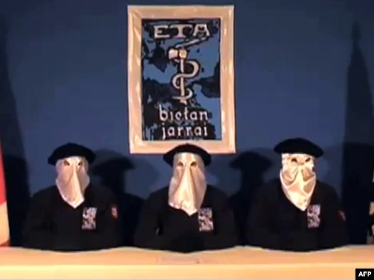 A screen grab shows ETA members declaring a ceasefire in the Basque town of Guernica late last year.