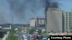 An image posted on Twitter purports to show the site of the shoot-out in Almaty on July 30.