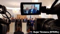 Presidenti i Kosovës Hashim Thaçi, pas takimit me liderët e Luginës së Preshevës