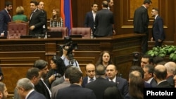 Armenia -- Deputies talk during a short break taken during a parliament debate on constitutional changes, Yerevan, February 6, 2020.