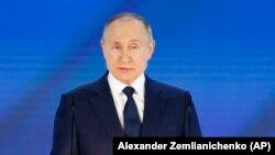 Vlagyimir Putyin évértékelő beszédet tart Moszkvában 2021. április 21-én