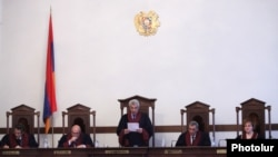 Armenia - The Constitutional Court announces a ruling overturning a controversial pension reform initiated by the government, Yerevan, 2Mar2014.
