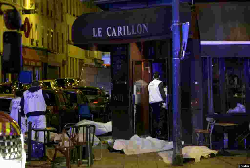 The bodies of victims who were shot dead at Le Carillon bar in Paris. It was one of several targets hit by terrorist attacks on November 13.