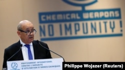 French Foreign Affairs Minister Jean-Yves Le Drian delivers a speech during a foreign ministers' meeting on the International Partnership against Impunity for the Use of Chemical Weapons, in Paris, January 23, 2018