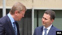 Средба на премиерот Никола Груевски и комесарот за проширување и соседска политика на ЕУ Штефан Филе. 07мај 2012.