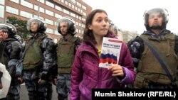 Ольга Мисик, гражданский активист, на митинге в Москве