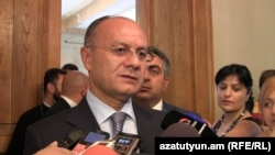 Armenia - Armenian Defense minister Seyran Ohanian talikg to journalists on the issue of Azerbaijani saboteurs' illegally crossing the Karabakh-Azerbajani Line of Contact, 15 Jul, 2014